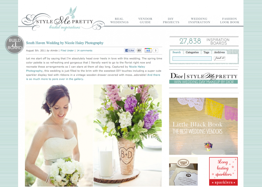 Style Me Pretty wedding blog, Nicole Haley Photography